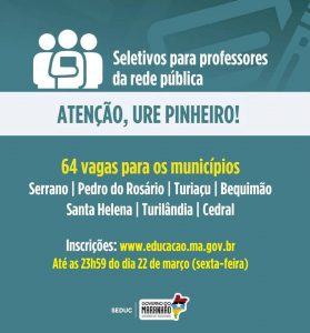 URE de Pinheiro oferece  64 vagas para professores